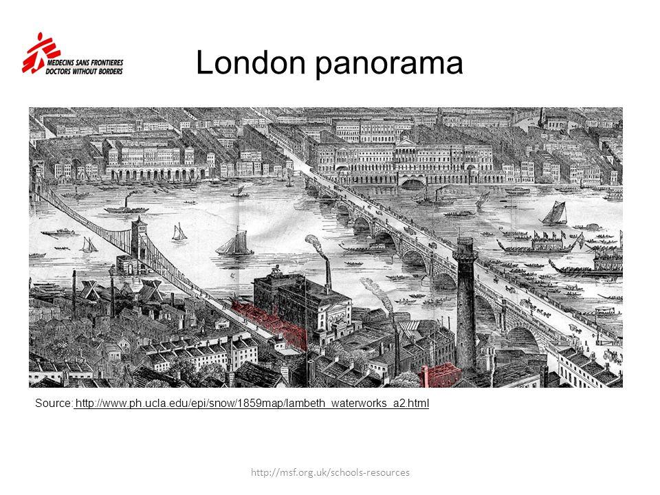 London panorama Source: http://www.ph.ucla.edu/epi/snow/1859map/lambeth_waterworks_a2.html http://msf.org.uk/schools-resources