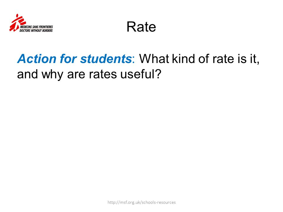 Rate Action for students: What kind of rate is it, and why are rates useful? http://msf.org.uk/schools-resources