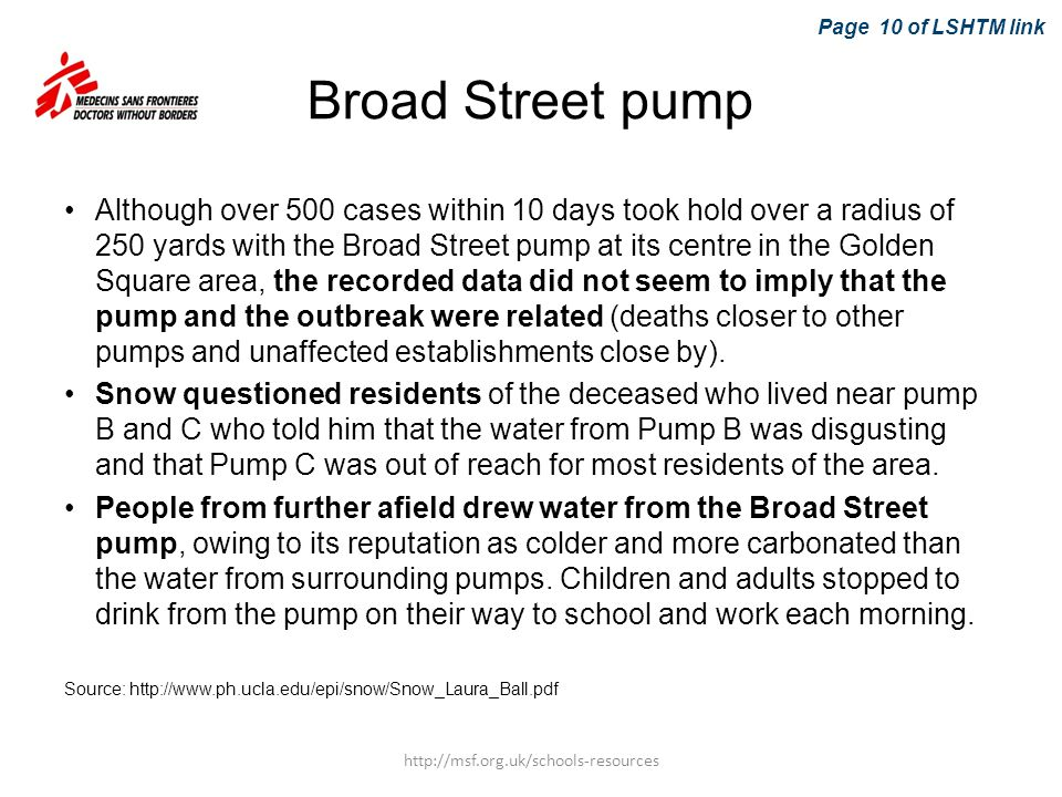 Broad Street pump Although over 500 cases within 10 days took hold over a radius of 250 yards with the Broad Street pump at its centre in the Golden S