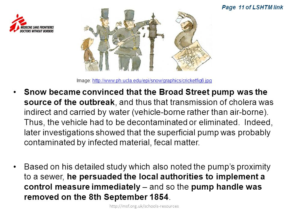 Snow became convinced that the Broad Street pump was the source of the outbreak, and thus that transmission of cholera was indirect and carried by wat