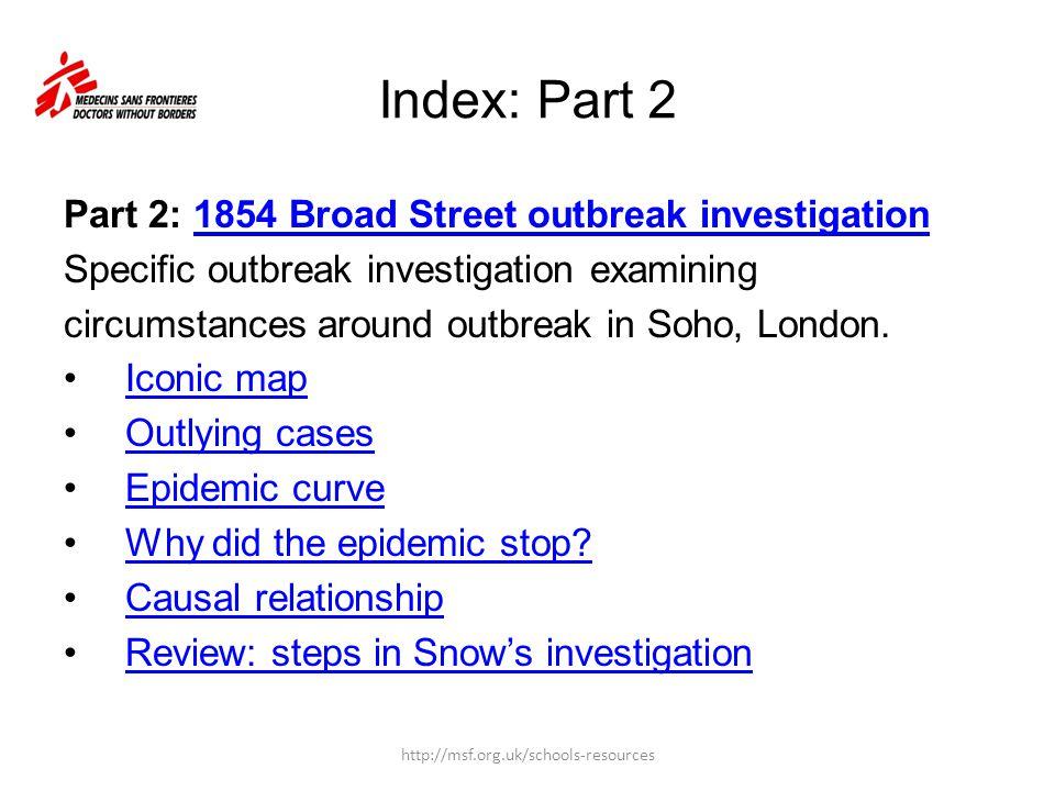Part 2: 1854 Broad Street outbreak investigation1854 Broad Street outbreak investigation Specific outbreak investigation examining circumstances aroun