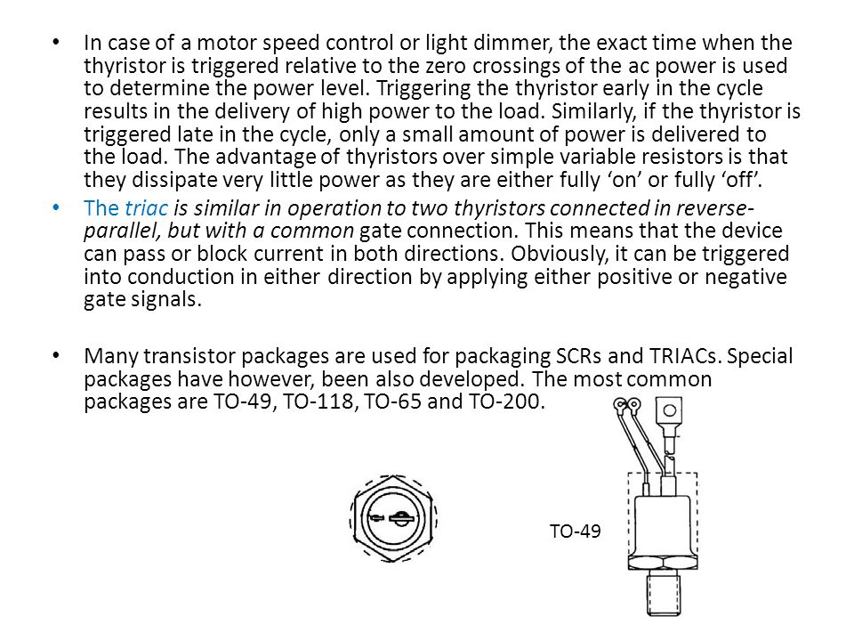 In case of a motor speed control or light dimmer, the exact time when the thyristor is triggered relative to the zero crossings of the ac power is used to determine the power level.