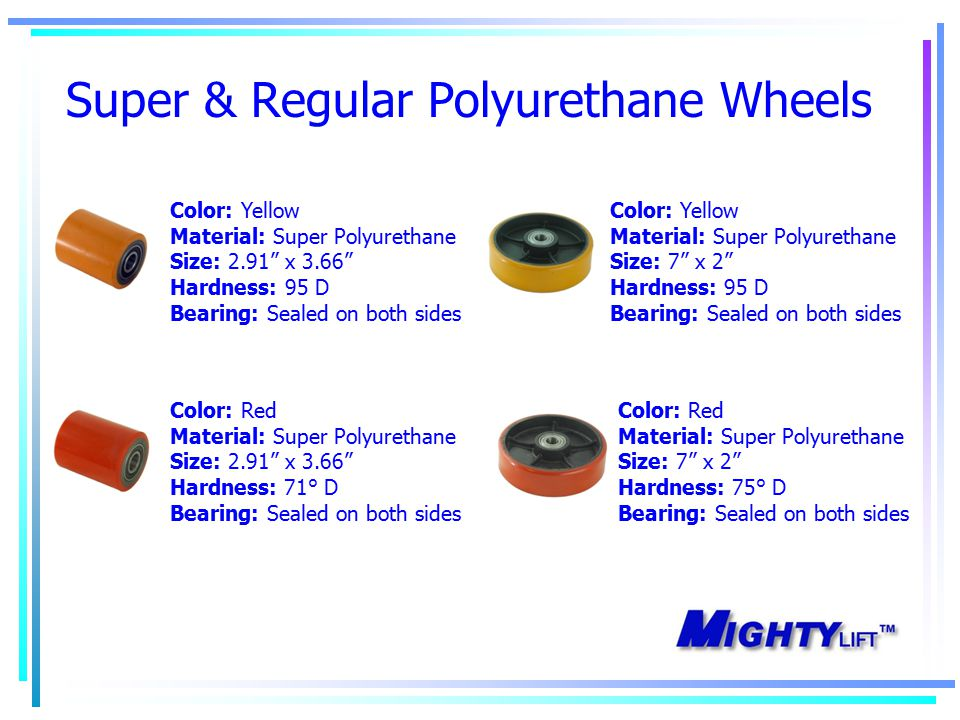Super & Regular Polyurethane Wheels Color: Yellow Material: Super Polyurethane Size: 2.91 x 3.66 Hardness: 95 D Bearing: Sealed on both sides Color: Red Material: Super Polyurethane Size: 2.91 x 3.66 Hardness: 71° D Bearing: Sealed on both sides Color: Yellow Material: Super Polyurethane Size: 7 x 2 Hardness: 95 D Bearing: Sealed on both sides Color: Red Material: Super Polyurethane Size: 7 x 2 Hardness: 75° D Bearing: Sealed on both sides