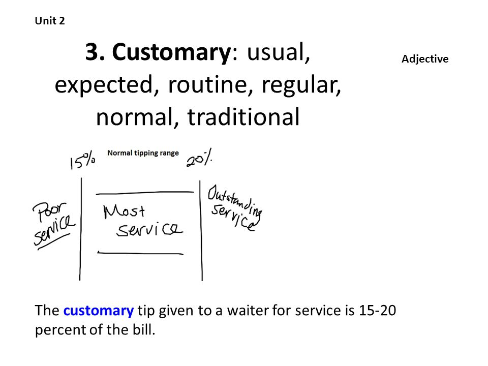 3. Customary: usual, expected, routine, regular, normal, traditional Unit 2 Adjective The customary tip given to a waiter for service is 15-20 percent