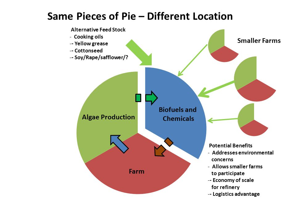 Farm Algae Production Biofuels and Chemicals Same Pieces of Pie – Different Location Smaller Farms Alternative Feed Stock - Cooking oils -- Yellow grease -- Cottonseed -- Soy/Rape/safflower/.