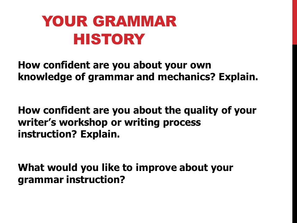 THINKING ABOUT GRAMMAR AND MECHANICS IN WRITING.