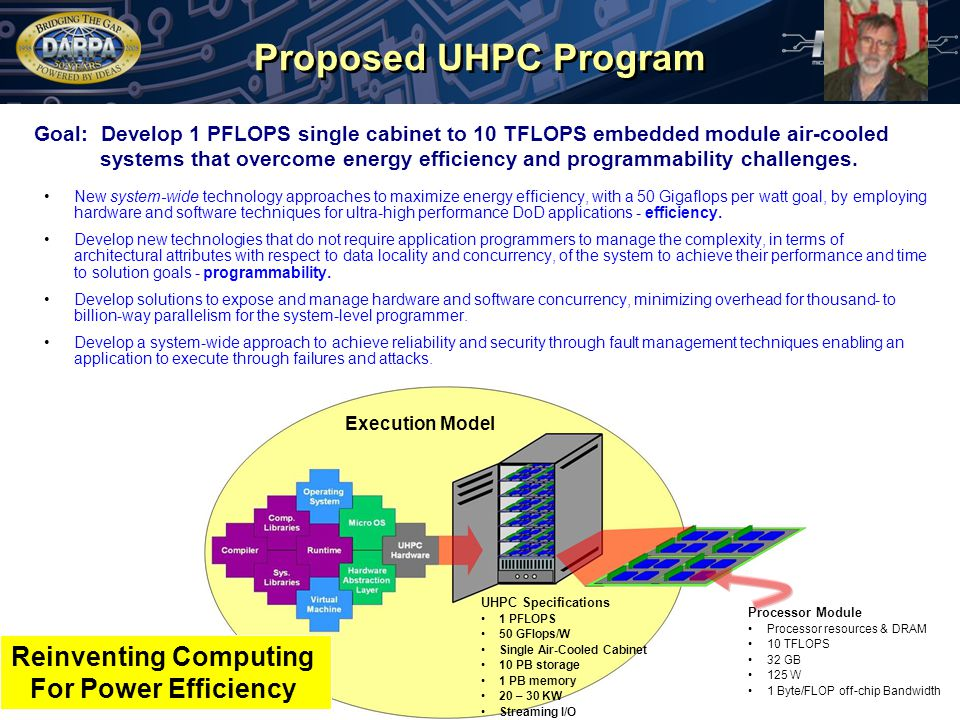 Proposed UHPC Program New system-wide technology approaches to maximize energy efficiency, with a 50 Gigaflops per watt goal, by employing hardware and software techniques for ultra-high performance DoD applications - efficiency.