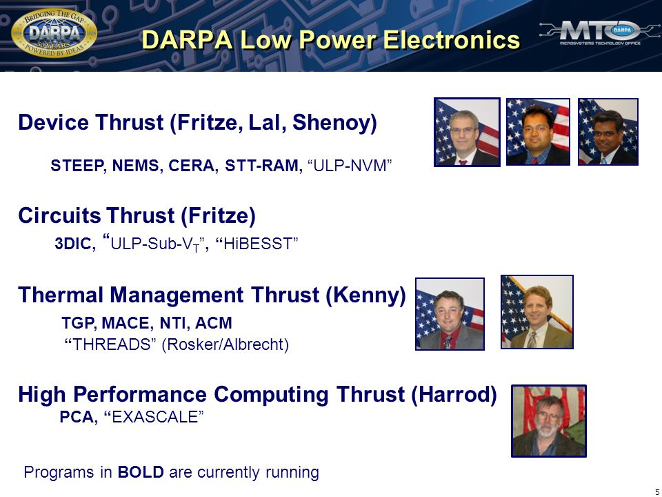 DARPA Low Power Electronics 5 Device Thrust (Fritze, Lal, Shenoy) STEEP, NEMS, CERA, STT-RAM, ULP-NVM Circuits Thrust (Fritze) 3DIC, ULP-Sub-V T , HiBESST Thermal Management Thrust (Kenny) TGP, MACE, NTI, ACM THREADS (Rosker/Albrecht) High Performance Computing Thrust (Harrod) PCA, EXASCALE Programs in BOLD are currently running