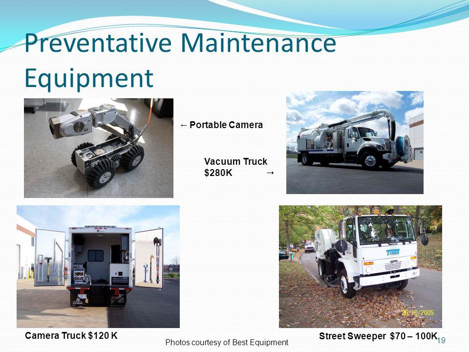 Preventative Maintenance Equipment 19 Photos courtesy of Best Equipment  Portable Camera Vacuum Truck $280K  Camera Truck $120 K Street Sweeper $70 – 100K