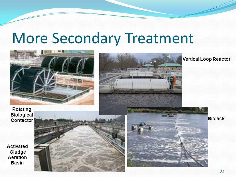 More Secondary Treatment 33 Rotating Biological Contactor Activated Sludge Aeration Basin Vertical Loop Reactor Biolack