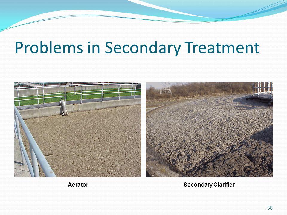 Problems in Secondary Treatment 38 AeratorSecondary Clarifier