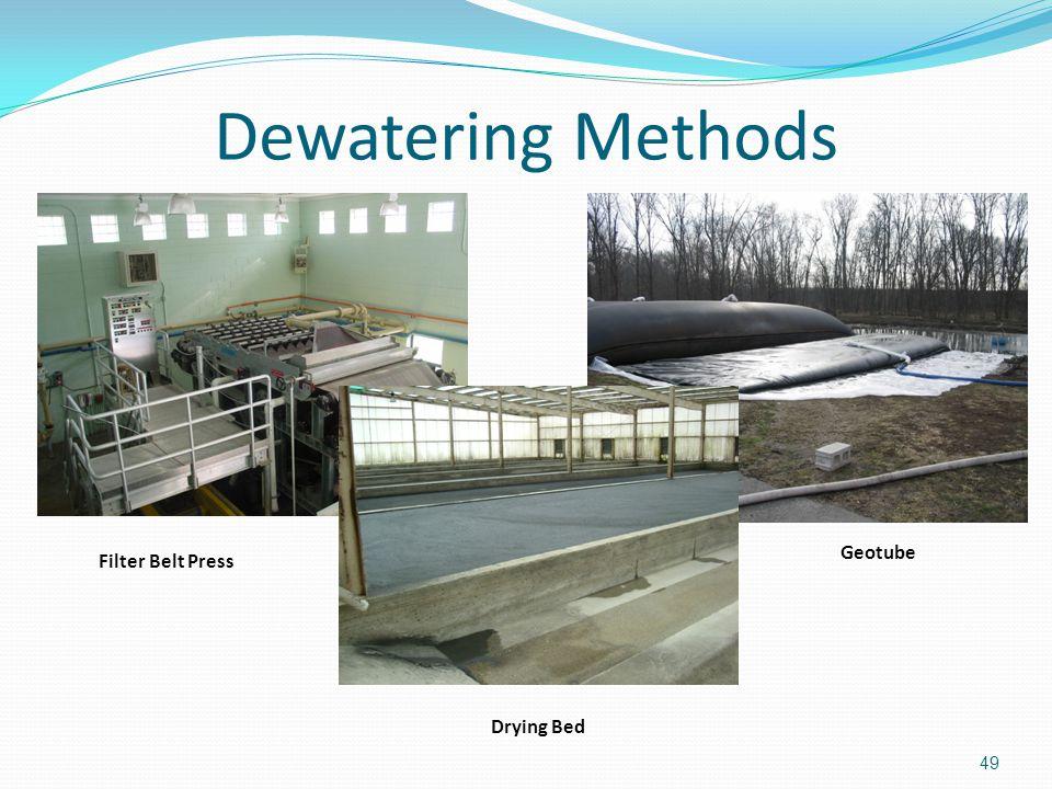Dewatering Methods 49 Filter Belt Press Geotube Drying Bed