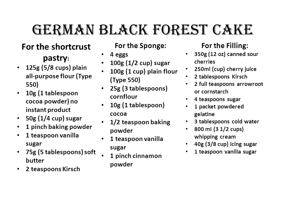 GERMAN BLACK FOREST CAKE For the shortcrust pastry : 125g (5/8 cups) plain all-purpose flour (Type 550) 10g (1 tablespoon cocoa powder) no instant product 50g (1/4 cup) sugar 1 pinch baking powder 1 teaspoon vanilla sugar 75g (5 tablespoons) soft butter 2 teaspoons Kirsch For the Sponge: 4 eggs 100g (1/2 cup) sugar 100g (1 cup) plain flour (Type 550) 25g (3 tablespoons) cornflour 10g (1 tablespoon) cocoa 1/2 teaspoon baking powder 1 teaspoon vanilla sugar 1 pinch cinnamon powder For the Filling: 350g (12 oz) canned sour cherries 250ml (cup) cherry juice 2 tablespoons Kirsch 2 full teaspoons arrowroot or cornstarch 4 teaspoons sugar 1 packet powdered gelatine 3 tablespoons cold water 800 ml (3 1/2 cups) whipping cream 40g (3/8 cup) icing sugar 1 teaspoon vanilla sugar
