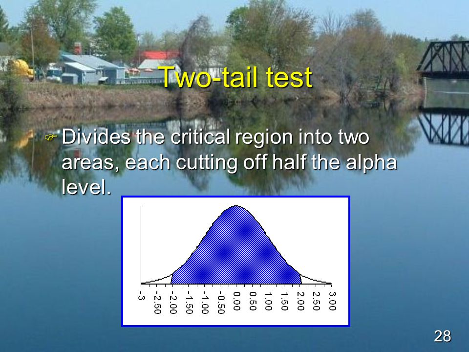 28 Two-tail test F Divides the critical region into two areas, each cutting off half the alpha level.