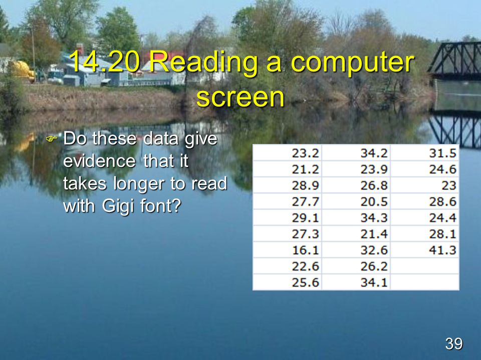 39 14.20 Reading a computer screen F Do these data give evidence that it takes longer to read with Gigi font?
