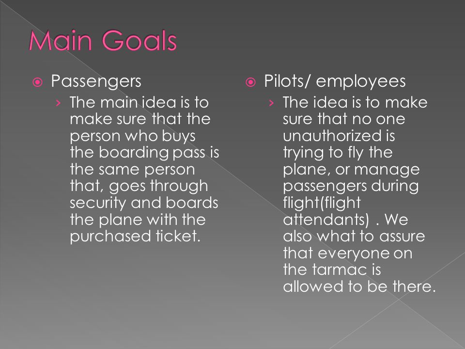  Passengers › The main idea is to make sure that the person who buys the boarding pass is the same person that, goes through security and boards the plane with the purchased ticket.
