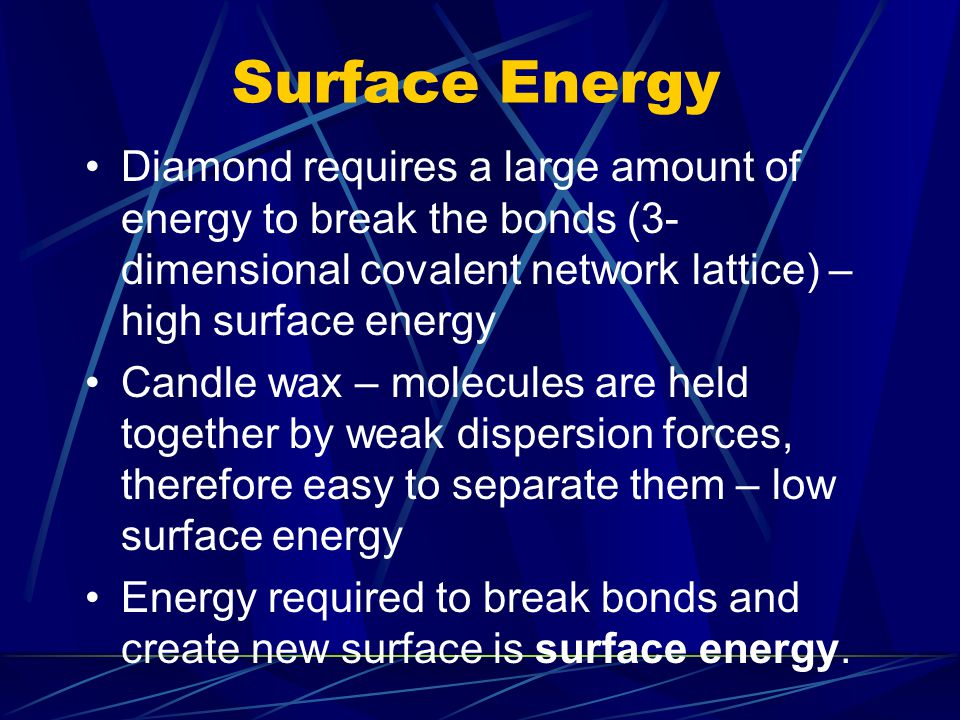 Surface Energy When a new surface is formed, the particles at the surface have the ability to bond to other substances.
