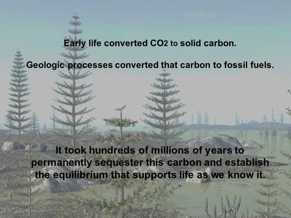 Early life converted CO 2 to solid carbon.