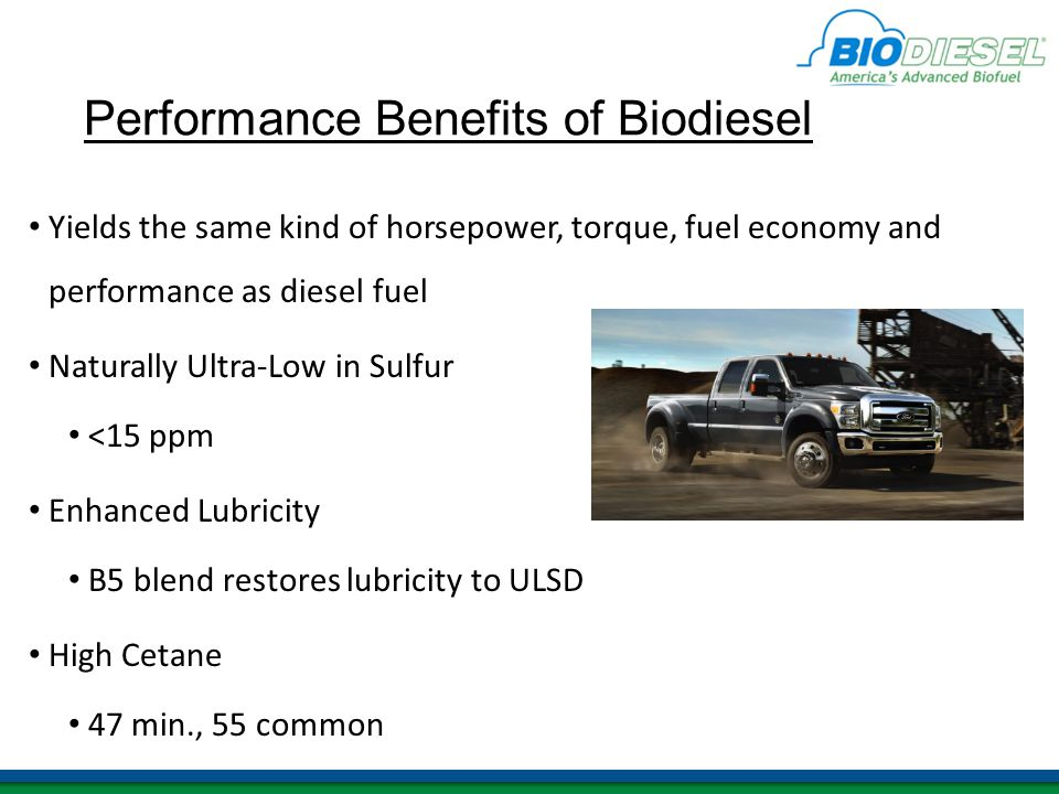 Performance Benefits of Biodiesel Yields the same kind of horsepower, torque, fuel economy and performance as diesel fuel Naturally Ultra-Low in Sulfur <15 ppm Enhanced Lubricity B5 blend restores lubricity to ULSD High Cetane 47 min., 55 common