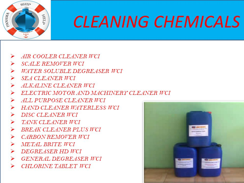 CLEANING CHEMICALS  AIR COOLER CLEANER WCI  SCALE REMOVER WCI  WATER SOLUBLE DEGREASER WCI  SEA CLEANER WCI  ALKALINE CLEANER WCI  ELECTRIC MOTO