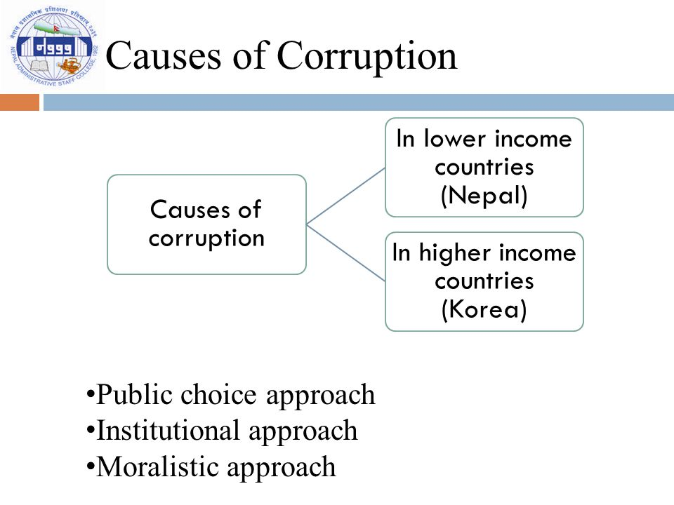 Causes of Corruption Causes of corruption In lower income countries (Nepal) In higher income countries (Korea) Public choice approach Institutional ap