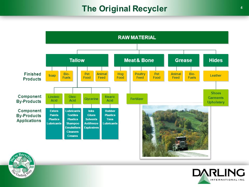 4 The Original Recycler RAW MATERIAL TallowMeat & BoneGreaseHides Leather Shoes Garments Upholstery Bio- Fuels Animal Feed Pet Food Poultry Feed Hog Food Animal Feed Pet Food Bio- Fuels Soap Linoleic Acid Oleic Acid Glycerine Stearic Acid Fertilizer Lubricants Textiles Plastics Shampoo Emulsifiers Cleaners Creams Esters Paints Plastics Lubricants Inks Glues Solvents Antifreeze Explosives Rubber Plastics Tires Lubricants Finished Products Component By-Products Component By-Products Applications
