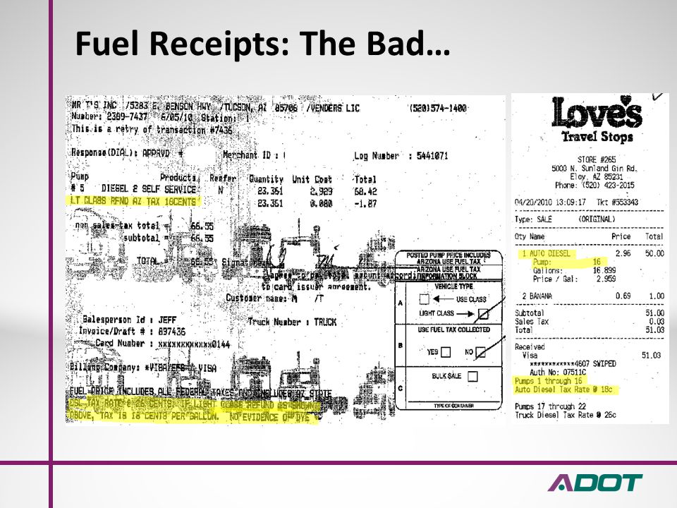Fuel Receipts: The Good…
