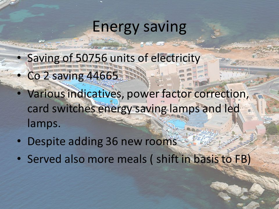Energy saving Saving of 50756 units of electricity Co 2 saving 44665 Various indicatives, power factor correction, card switches energy saving lamps and led lamps.