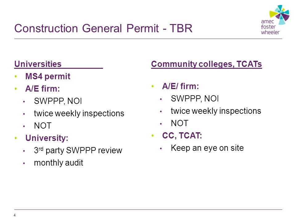 4 Universities MS4 permit A/E firm: SWPPP, NOI twice weekly inspections NOT University: 3 rd party SWPPP review monthly audit Community colleges, TCATs A/E/ firm: SWPPP, NOI twice weekly inspections NOT CC, TCAT: Keep an eye on site Construction General Permit - TBR