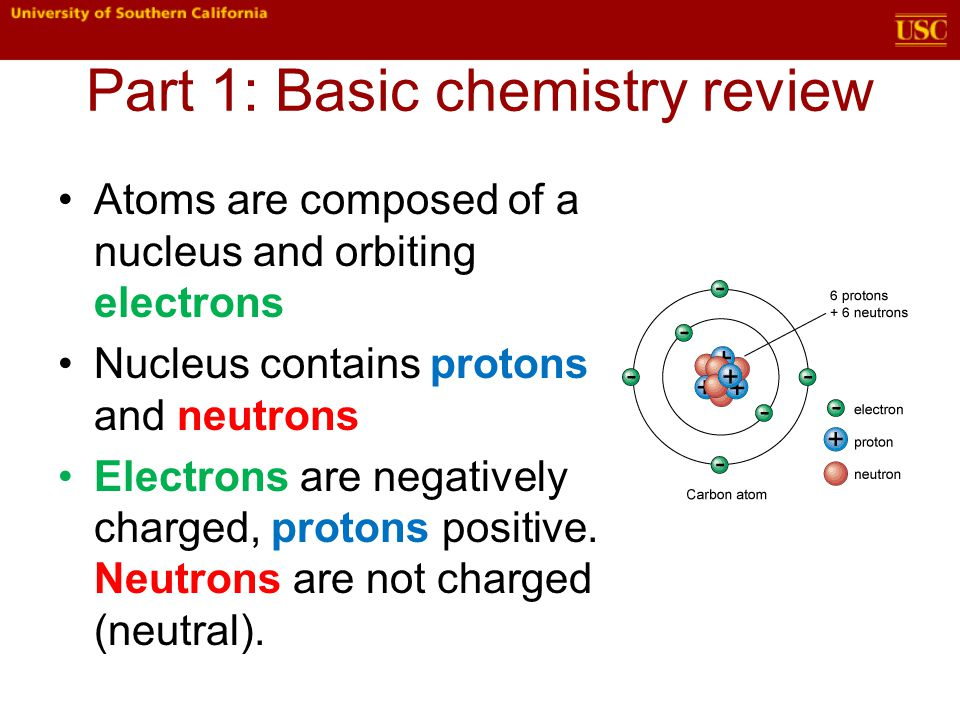 Part 1: Basic chemistry review Three phases of matter: solid, liquid, gas Solid – slowest movement of molecules, just vibrating Liquid—molecules moving enough to be able to flow over and around each other Gas—molecules moving very rapidly, fill the available space
