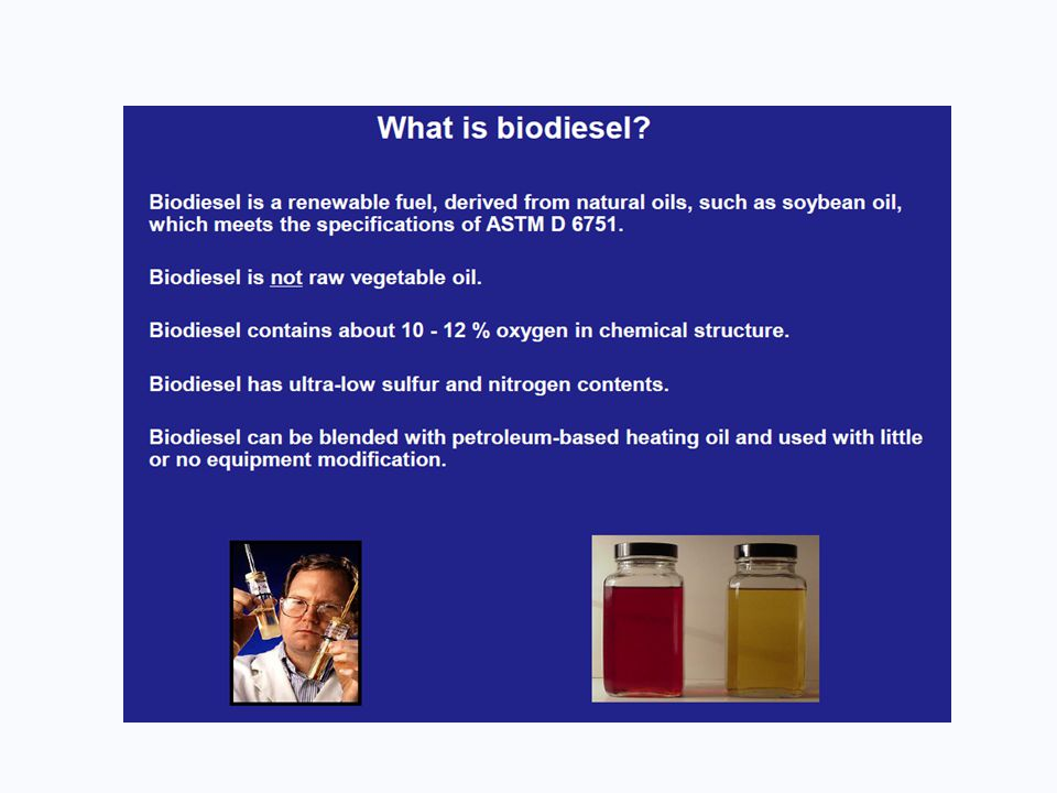 Biodiesel Feedstock Diversity Diversity = Sustainability NBB supports all sustainable feedstocks Utilize existing wastes Improve market value for underutilized co-products Yellow Grease Animal Fats Corn Oil from DDGS Soybean and Canola Oil