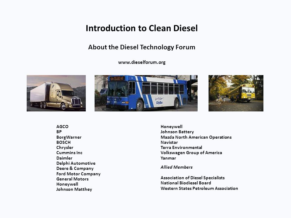 Pick-up and Delivery Vehicles Have Achieved a 20X Reduction in Real World Nox Emissions With Clean Diesel Engines NOx (g/mi) PM (g/mi) Savings to the new clean diesel buyer Per Year Average vehicle miles traveled35,000 Fuel savings - gallons160 Fuel savings - bbl4 Fuel cost savings @ $4.00/gal$640 CO 2 savings – metric tonnes1.6 NO x savings – metric tonnes0.15 Particulate matter savings – kg2 94% Reduction EPA estimates for in-use distance based output.