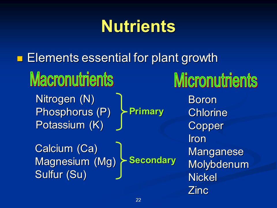 22 Nutrients Elements essential for plant growth Elements essential for plant growth Nitrogen (N) Phosphorus (P) Potassium (K) Calcium (Ca) Magnesium