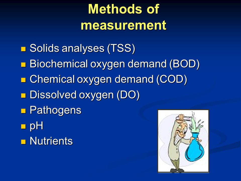 Methods of measurement Solids analyses (TSS) Solids analyses (TSS) Biochemical oxygen demand (BOD) Biochemical oxygen demand (BOD) Chemical oxygen demand (COD) Chemical oxygen demand (COD) Dissolved oxygen (DO) Dissolved oxygen (DO) Pathogens Pathogens pH pH Nutrients Nutrients
