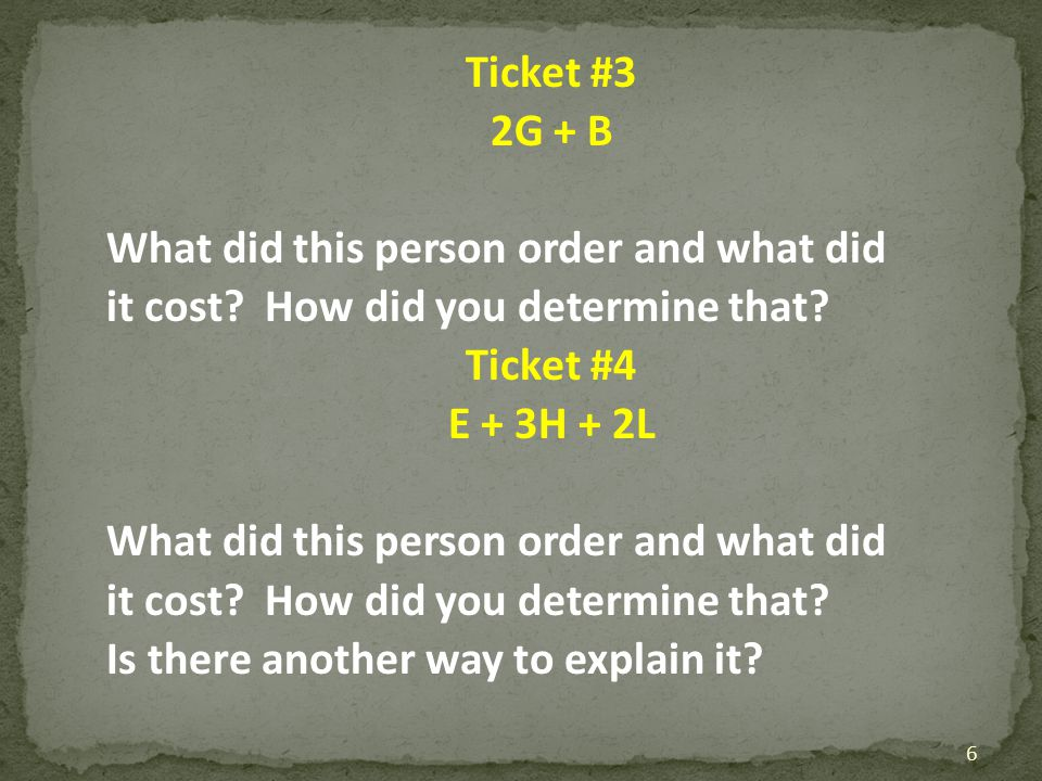 Ticket #3 2G + B What did this person order and what did it cost? How did you determine that? Ticket #4 E + 3H + 2L What did this person order and wha