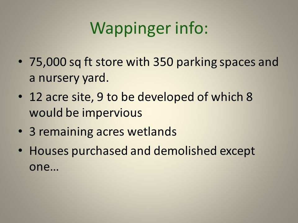 Wappinger info: 75,000 sq ft store with 350 parking spaces and a nursery yard. 12 acre site, 9 to be developed of which 8 would be impervious 3 remain