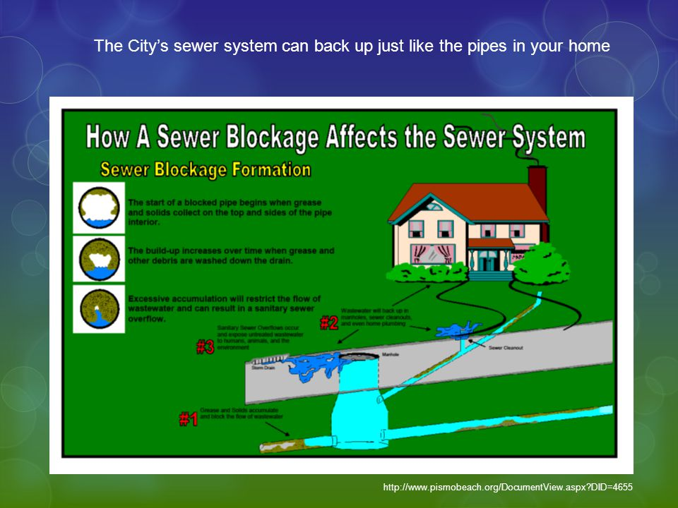 The City's sewer system can back up just like the pipes in your home http://www.pismobeach.org/DocumentView.aspx DID=4655
