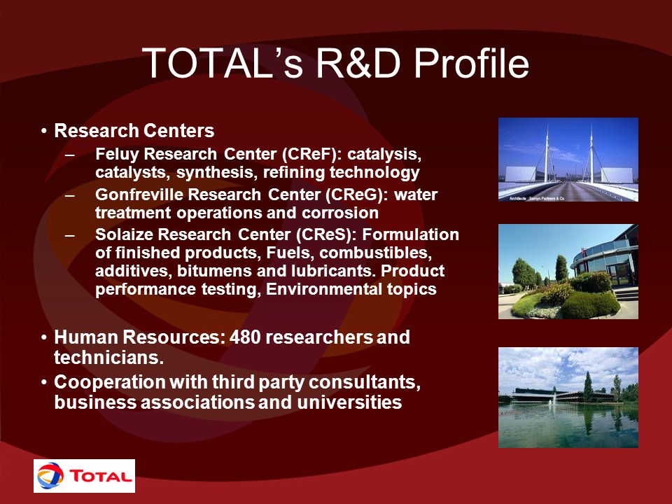 TOTAL's R&D Profile Research Centers –Feluy Research Center (CReF): catalysis, catalysts, synthesis, refining technology –Gonfreville Research Center (CReG): water treatment operations and corrosion –Solaize Research Center (CReS): Formulation of finished products, Fuels, combustibles, additives, bitumens and lubricants.