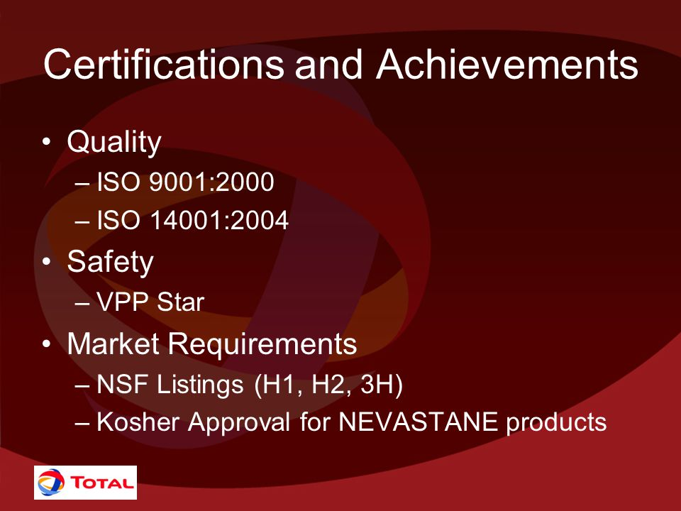 Certifications and Achievements Quality –ISO 9001:2000 –ISO 14001:2004 Safety –VPP Star Market Requirements –NSF Listings (H1, H2, 3H) –Kosher Approval for NEVASTANE products