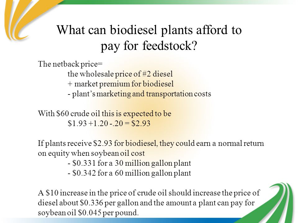 What can biodiesel plants afford to pay for feedstock.