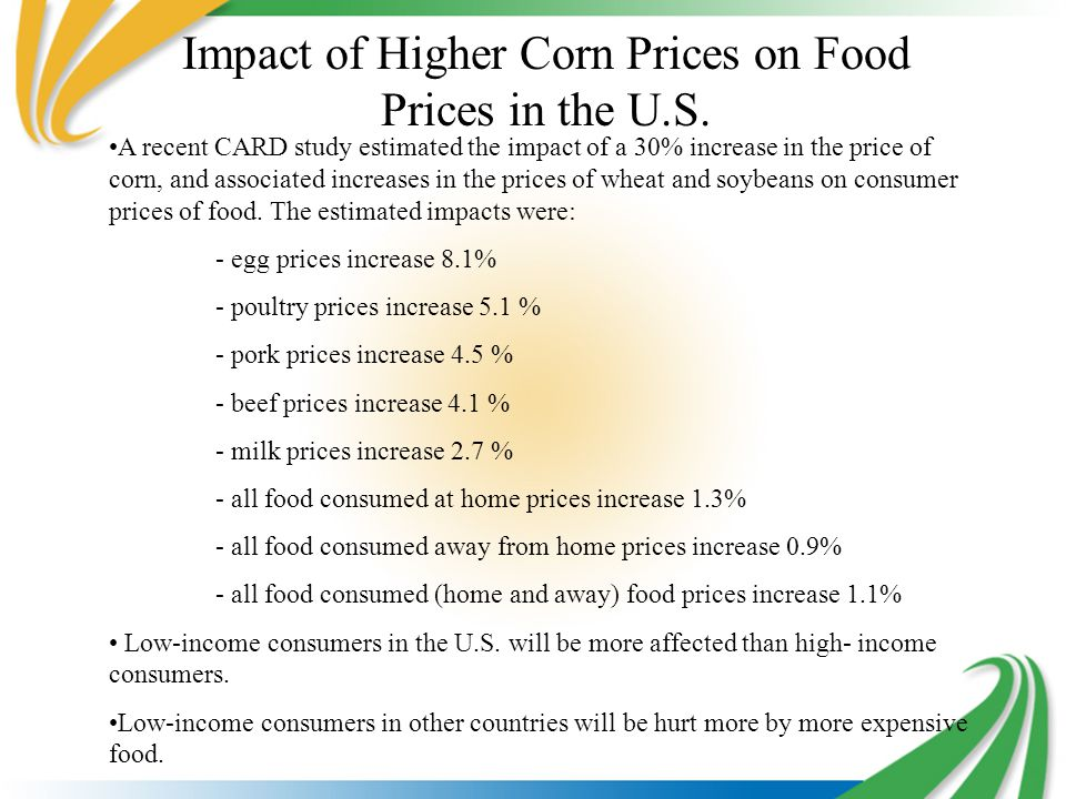 Impact of Higher Corn Prices on Food Prices in the U.S.