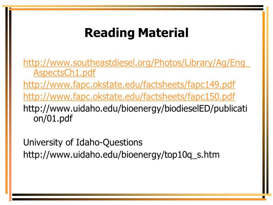Reading Material http://www.southeastdiesel.org/Photos/Library/Ag/Eng_ AspectsCh1.pdf http://www.fapc.okstate.edu/factsheets/fapc149.pdf http://www.fa