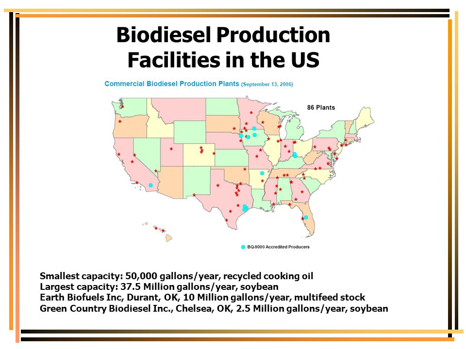 Biodiesel Production Facilities in the US Smallest capacity: 50,000 gallons/year, recycled cooking oil Largest capacity: 37.5 Million gallons/year, so