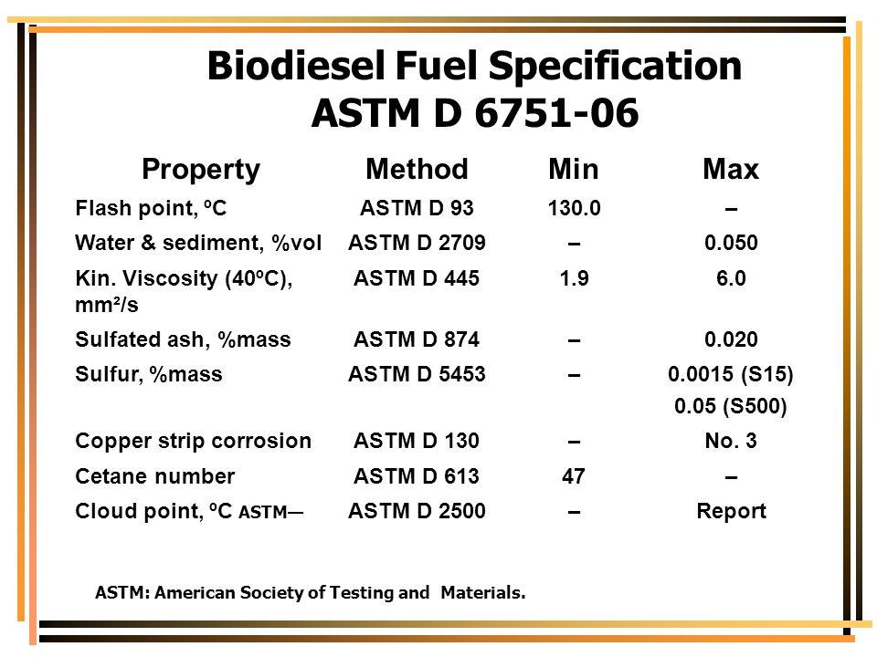 Biodiesel Fuel Specification ASTM D 6751-06 PropertyMethodMinMax Flash point, ºCASTM D 93130.0– Water & sediment, %volASTM D 2709–0.050 Kin. Viscosity