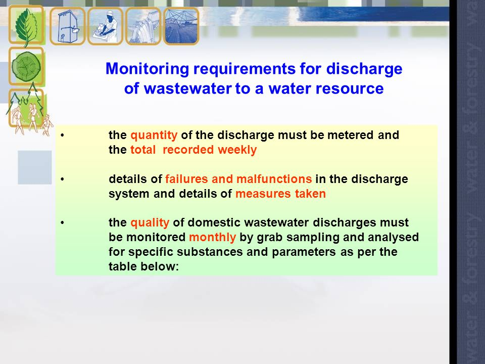 Monitoring requirements for discharge of wastewater to a water resource the quantity of the discharge must be metered and the total recorded weekly details of failures and malfunctions in the discharge system and details of measures taken the quality of domestic wastewater discharges must be monitored monthly by grab sampling and analysed for specific substances and parameters as per the table below: