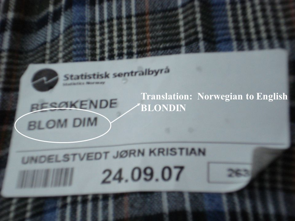 Translation: Norwegian to English BLONDIN