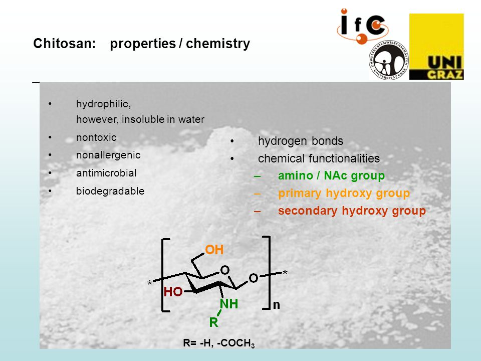 R= -H, -COCH 3 hydrophilic, however, insoluble in water nontoxic nonallergenic antimicrobial biodegradable hydrogen bonds chemical functionalities –amino / NAc group –primary hydroxy group –secondary hydroxy group Chitosan: properties / chemistry