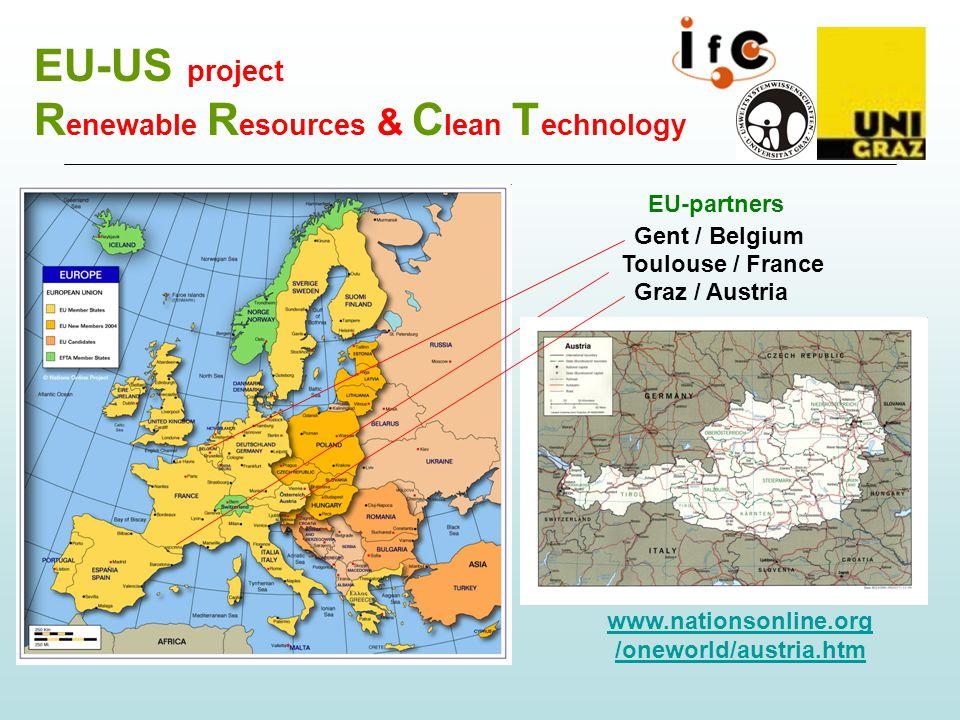 EU-US project R enewable R esources & C lean T echnology EU-partners Gent / Belgium Toulouse / France www.nationsonline.org /oneworld/austria.htm Graz / Austria