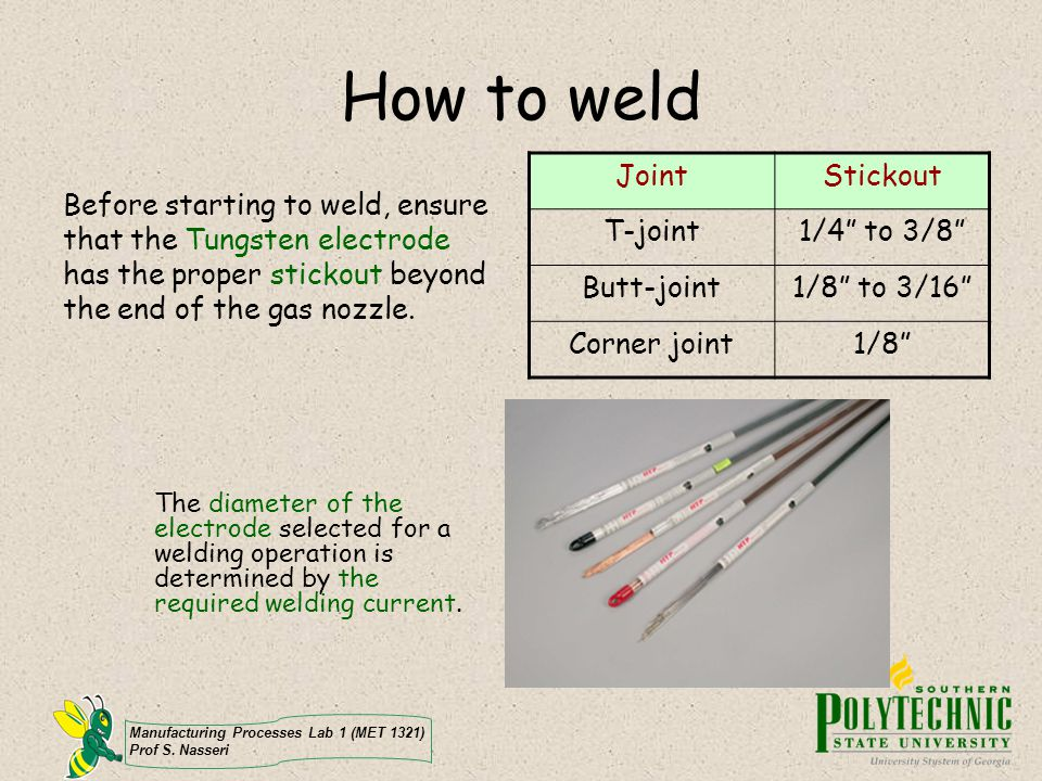 Manufacturing Processes Lab 1 (MET 1321) Prof S. Nasseri How to weld Before starting to weld, ensure that the Tungsten electrode has the proper sticko