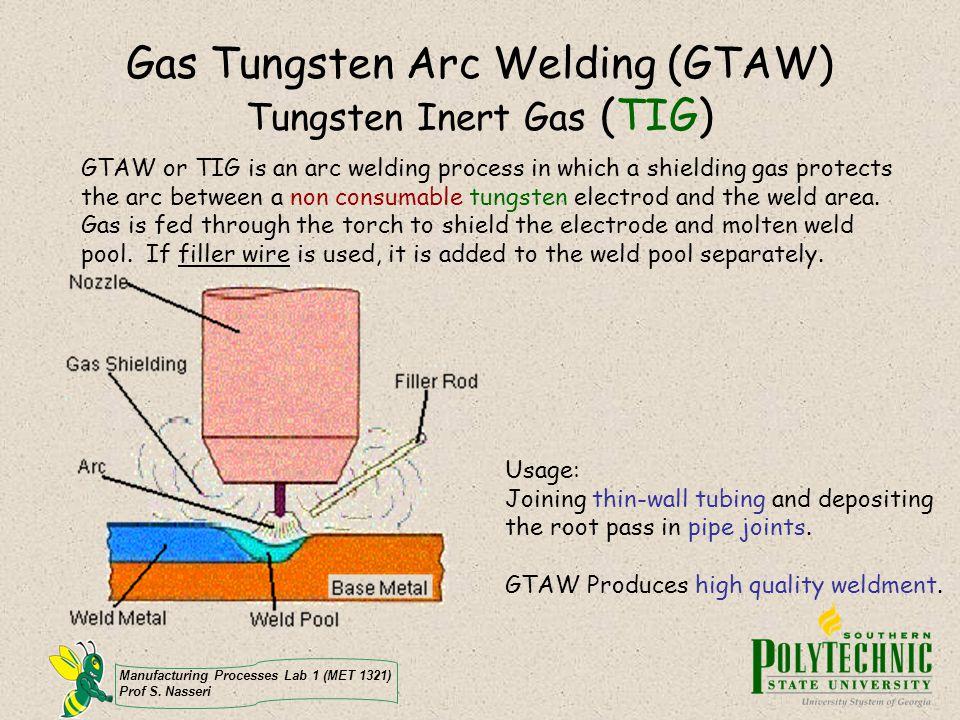 Manufacturing Processes Lab 1 (MET 1321) Prof S. Nasseri Gas Tungsten Arc Welding (GTAW) Tungsten Inert Gas (TIG) GTAW or TIG is an arc welding proces